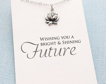 Graduation Gift   Lotus Necklace, Inspirational College Student Gift, Class of 2018, Medical Student Gift, Nursing Student, Teacher Gift  G6