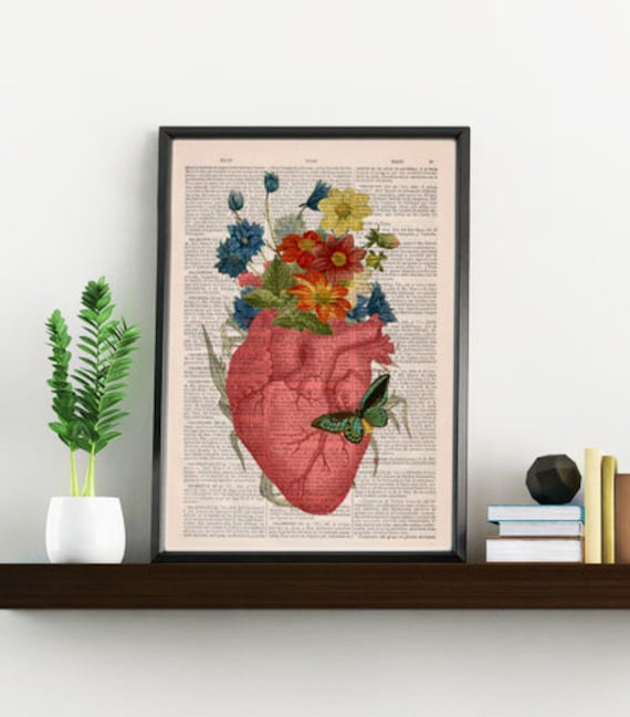 Pink Floral Heart human Anatomy Print on dictionary page Love gift, love wall art, human anatomy, science SKA088bX