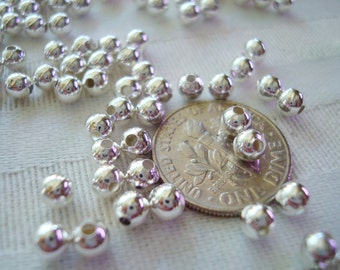 3mm or 4mm Quality Beautiful Silver Ball Spacers. Invisible Seams.  4mm Are BRASS   *USPS Standard Ship Rates