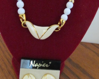 Napier Vintage necklace Earrings Set Demi Parure, Gold Tone Ivory Color Enamel