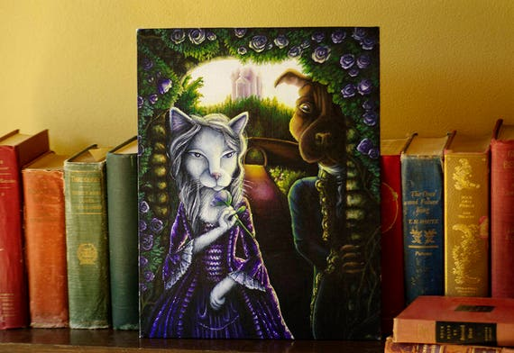 Beauty and the Beast, Cat and Dog, Original Acrylic Painting 11x14