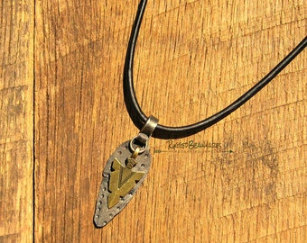 Mens Arrowhead Dot Leather Necklace rustic rocker viking nordic medieval black forged steel antique bronze spearhead adjustable long length