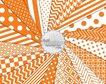 ORANGE - Digital Paper and Printable Background Patterns - Orange and White Digital Scrapbook Papers - Instant Download (DP248A)