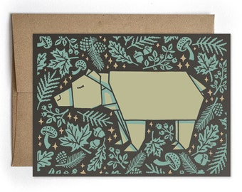 Bear Greeting Card, Just Because, Thinking of You, Congrats, Bday Card, Modern Card for Him, Bear Origami Cards