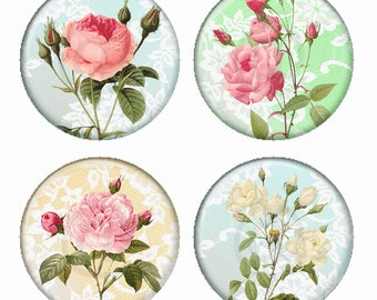Fleurs Rose tendre sur la dentelle Pastel Backgrounds aimants ou Pinback Buttons ou Flatback médaillons Set de 4