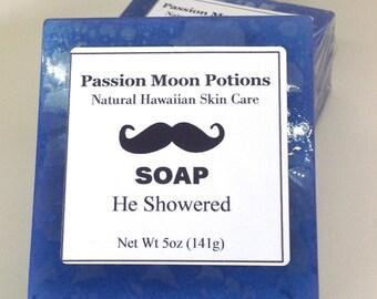 Soap for Men. He Showered. Fresh, Sandalwood, Spice, Lavender, Amber, Blue water