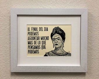 Frida Kahlo - Quote - unframed 5x7 linoleum block print