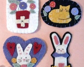 Bunnies Kitty Posies Wool Pins PDF PATTERN