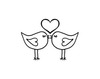 Cute Love Birds Kissing Rubber Stamp