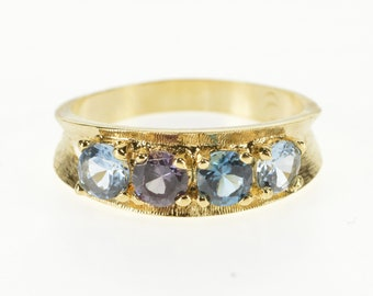14K Blue Topaz Inset Retro Curved Band Ring Size 9.25 Yellow Gold