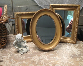Collection Gold Mirrors - Hollywood Regency Gilded Mirrors - Standing Mirrors - Set of Three Mirrors - Home Decor Mirrors