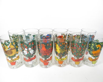 Vintage 12 Days of Christmas Glass Tumblers - 12 Days of Christmas Glasses