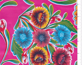Fuschia Floral Oilcloth, Fabric By The Yard