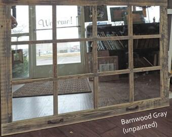 "Farmhouse Large Window Pane Mirror -- 46"" X 36""  Painted Barn wood Homesteader Style"