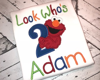 Look Who's TWO Elmo Personalized Birthday Shirt