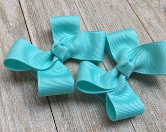 Aqua Hair Bows,Pigtail Hair Bows,3 Inch Wide Hair Bows,Alligator Clips,Birthday Party Favors,Ready to Ship