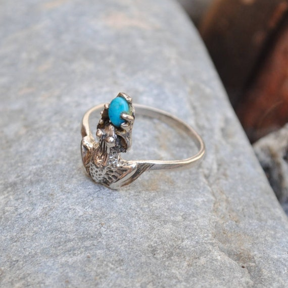 Frog ring, silver animal ring, vintage ring, turquoise ring, animal ring, animals rings, boho ring, ethnic ring, turquoise jewelry