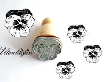 Stamp horned pansy, rubber stamp Ø 2 cm