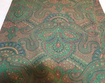 Wool Paisley Green Long Scarf Made In England