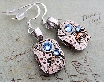 Steampunk ear gear - Aquamarine - Steampunk Earrings - Repurposed art
