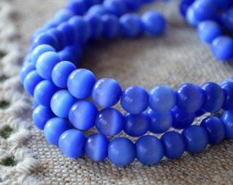 "50 Cat's Eye Glass 8mm Blue Round Beads Fiber Optic 16"" Strand"