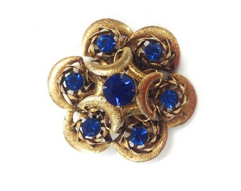 50s Blue Flower Brooch | Gold Blue Rhinestone Pin