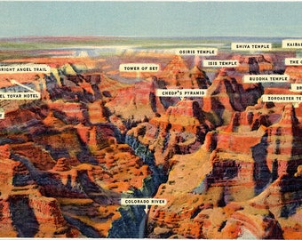 Grand Canyon National Park from Air Vintage Arizona Postcard (unused)