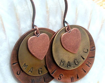 """Handstamped, Mixed Metal Earrings, """"Magic is Within"""" with Hearts,Jewelry,Dangle Earrings"""