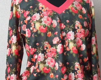 Sweater for women with bright floral print
