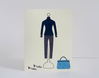 Blue turtleneck outfit | Handmade Card