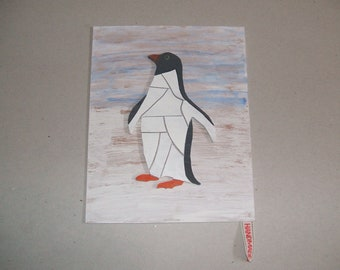Hand cut wooden penguin mosaic picture