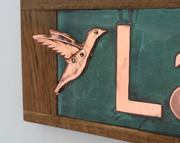 Humming bird detail element addon in copper to buy with signage - handmade, shipped worldwide