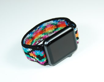 CCCVIII Apple Watch Band - Multicolor Aztec Pattern - Soft Stretch Elastic Custom Sizing