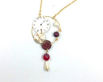 White and red vintage dials necklace