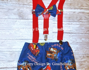 Cars cake smash Birthday outfit Disney lightning Mcqueen suspenders Tow Mator diaper cover bow tie invitation photo costume 12 18 24 toddler