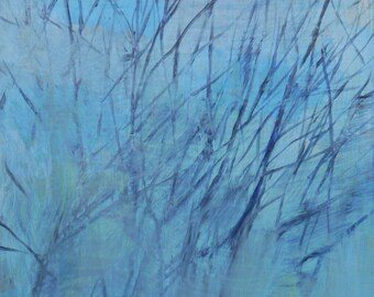 original art, small painting - Winter Branches, Spots of Blue Sky - by Irene Stapleford - wantknot shop
