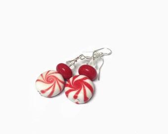 Peppermint Christmas Earrings/ Lampwork Earrings/ Christmas Earrings