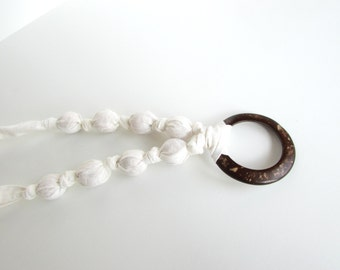 White on White Nursing Necklace, Fabric Necklace, Statement Necklace, Teething Necklace With Wooden/Coconut Ring