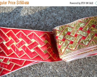 SALE SALE SALE Vintage Embroidered Trim Gold Red Remnants Sewing Crafting Supplies