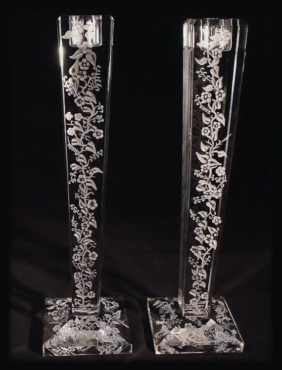 Hand Engraved crystal Candleholder, flowers, floral, home decor, etched, handengraved, candlesticks,office decor, crystal gift, housewarming
