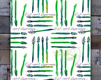 Asparagus art, instant download 8x10 print, wall decor, kitchen art, wall art, watercolor, asparagus, watercolor asparagus pattern