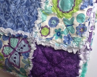 Baby Rag Quilt, Sparkle Butterfly Quilted Blanket, Unique, Handmade, Fringed Lap Quilt,  Ready to Ship