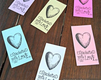Printable PDF Tags or Labels - Crocheted with Love Heart
