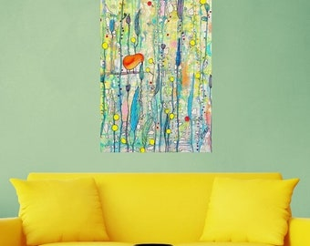 ON SALE Abstract Bird on a Branch Art Wall Sticker Decal – Grow Up by Sylvie Demers