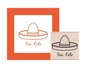 Spanish Teacher Sombrero Personalized Rubber Stamp