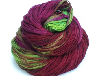 Jokes, Hand Dyed, Hand Painted, Ribbon, Yarn, Purple, Green, Red