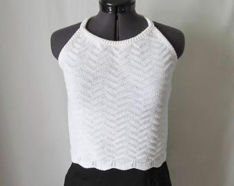 Express White Cotton Ripple Knit Halter Top