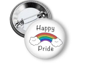 Gay Pride Pin/ Gay Pride Button/ Pride Pin/ Rainbow Flag Pin/ Happy Clouds Pin/ Rainbow/ LGBTQ/ Magnet/ Cute Pride Pin/ Gay Pin B141
