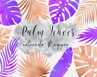 Watercolor And Copper Palm Leaves ClipArt, Watercolor Leaf, Watercolor Clipart, Tropical Palm ClipArt, 11 PNG Leaf Elements, BUY5FOR8