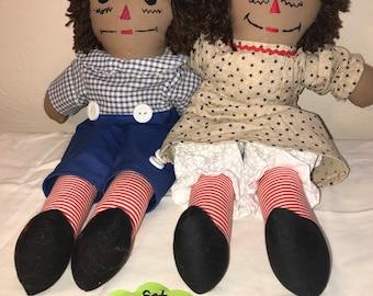 "15"" Brown skin Raggedy Dolls Set #5"